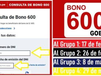 CRONOGRAMA DE PAGOS BONO 600