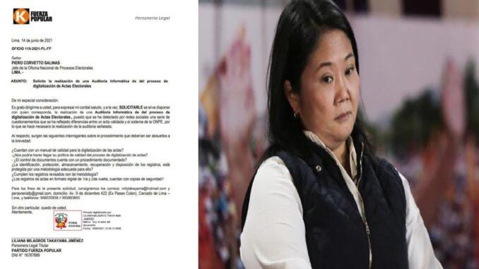Fuerza Popular pidió al jefe de la ONPE resolver una serie de interrogantes relacionadas a la segunda vuelta presidencial.