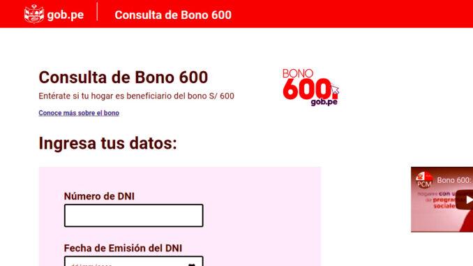 PLATAFORMA OFICIAL DE CONSULTA DEL BONO 600