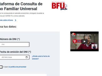 Bono Familiar Universal Consulta AQUÍ si estás en el padrón del BFU