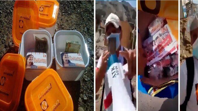 Un grupo de simpatizantes de Fuerza Popular entregan dinero, alimentos y viajes en autobús a los ciudadanos en el cruce de Pacasmayo para asistir a una caravana en Lima a favor de Keiko Fujimori