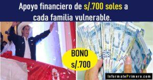 apoyo financiero de 700 soles a cada familia vulnerable