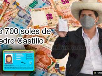 Bono 700 soles de Pedro Castillo