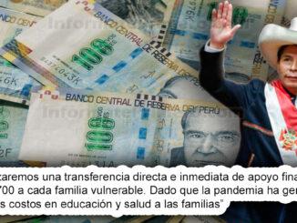 Qué dijo el Presidente Pedro Castillo sobre la entrega de 700 soles