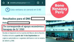 Beneficiarios del Bono Yanapay
