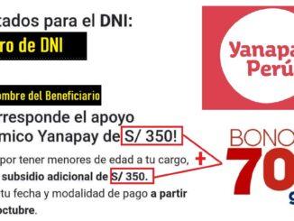Cobrarás 350 o 700 del Bono Yanapay