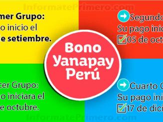 Conoce el cronograma del bono Yanapay Perú