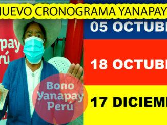 Cronograma de pago actualizado del Bono Yanapay