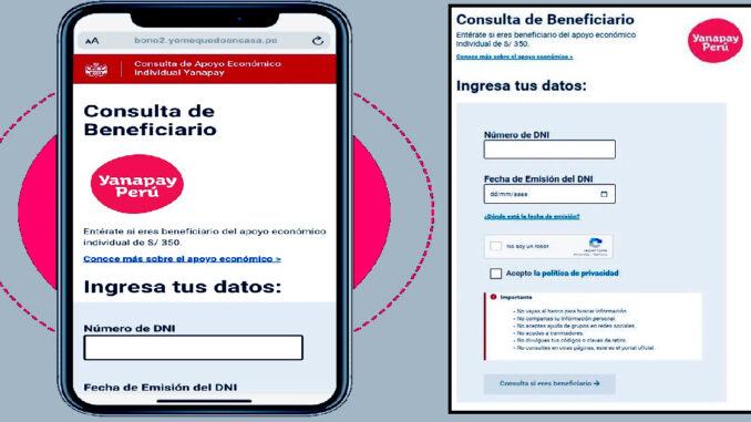 Bono Yanapay Perú: Ingresa al link oficial