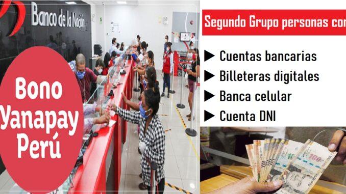 Segundo Grupo personas con cuentas bancarias, billeteras digitales, banca celular y cuenta DNI.