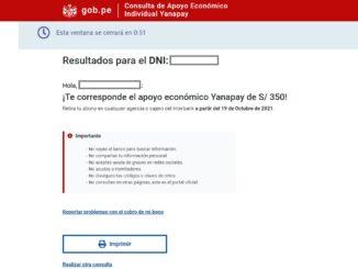 beneficiario del Bono Yanapay